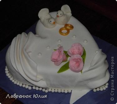 Доброго времени суток всем) Это мой первый свадебный тортик) фото 4