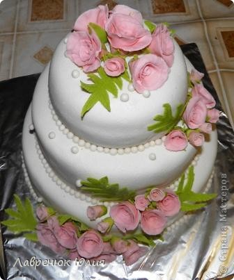 Доброго времени суток всем) Это мой первый свадебный тортик) фото 2