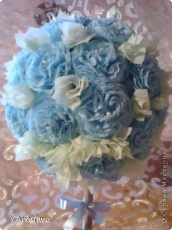 голубое деревце=)).... очень нравятся пушистые цветочки ( в цветочки я вклеила бусинки... правда на фото это не очень заметно=( ) фото 3
