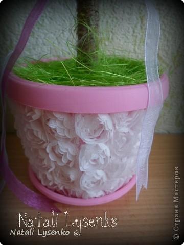 Нежное розовое  дерево с гофрированой бумаги) фото 2