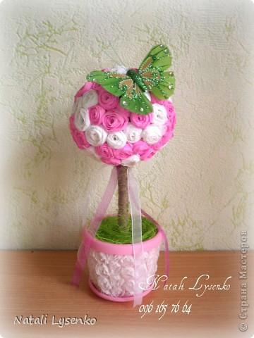 Нежное розовое  дерево с гофрированой бумаги) фото 1
