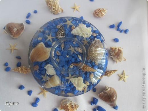 Новые свечи в морском стиле.От пузырьков специально не избавлялась,на мой взгляд,они здесь уместны. фото 1