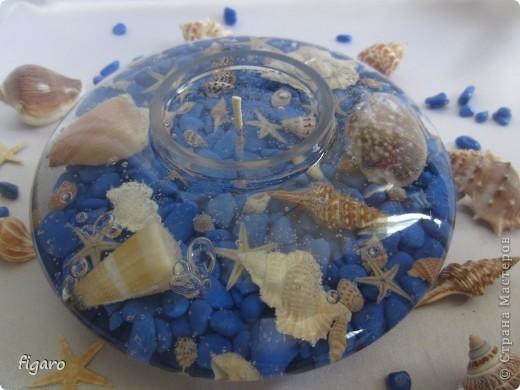 Новые свечи в морском стиле.От пузырьков специально не избавлялась,на мой взгляд,они здесь уместны. фото 2