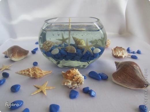 Новые свечи в морском стиле.От пузырьков специально не избавлялась,на мой взгляд,они здесь уместны. фото 3