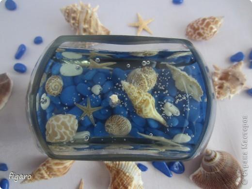 Новые свечи в морском стиле.От пузырьков специально не избавлялась,на мой взгляд,они здесь уместны. фото 4