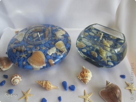 Новые свечи в морском стиле.От пузырьков специально не избавлялась,на мой взгляд,они здесь уместны. фото 5
