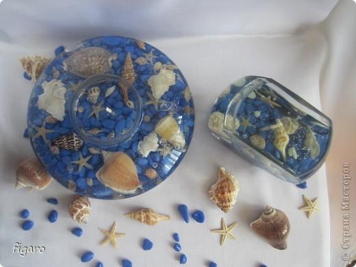 Новые свечи в морском стиле.От пузырьков специально не избавлялась,на мой взгляд,они здесь уместны. фото 6