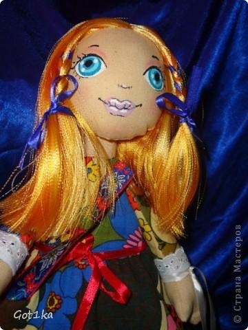 Текстильная кукла Маруся. ткань хлопок, лен, флис, трикотаж. Волосы атлас, краски по ткани. Рост 40 см. фото 2
