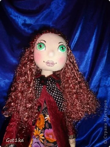 Текстильная кукла Тамара. Ткань лен, шелк, волосы атлас,  краски по ткани. Рост 50 см. фото 2