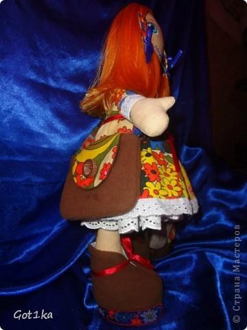 Текстильная кукла Маруся. ткань хлопок, лен, флис, трикотаж. Волосы атлас, краски по ткани. Рост 40 см. фото 3