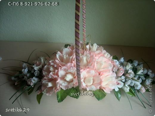 Корзина с ветвями в низ длинна 60см Высота 21 см Кол-во конфет 43 шт Марсианка шокомания+шарлет вишня +флор дизайн  фото 4