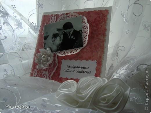 Эта открыточка была сделана родителям на годовщину свадьбы! Она незатейливая и простая, делалась очень быстро, но, на мой вгляд, получилась весьма симпотичная))))))))))))) фото 5