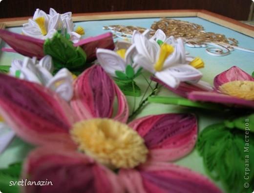 """Здравствуйте, жители Страны Мастеров! Представляю Вашему вниманию продолжение темы """"Райский уголок"""". от предыдущей работы оставалось два цветка...  Полоски в 1,5 мм, колокольчики сделаны по МК Ларисы Засадной. фото 2"""