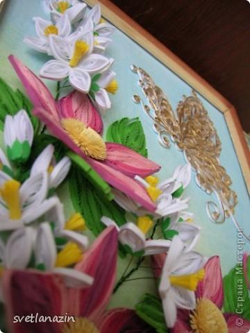 """Здравствуйте, жители Страны Мастеров! Представляю Вашему вниманию продолжение темы """"Райский уголок"""". от предыдущей работы оставалось два цветка...  Полоски в 1,5 мм, колокольчики сделаны по МК Ларисы Засадной. фото 4"""
