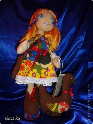 Текстильная кукла Маруся. ткань хлопок, лен, флис, трикотаж. Волосы атлас, краски по ткани. Рост 40 см. фото 1