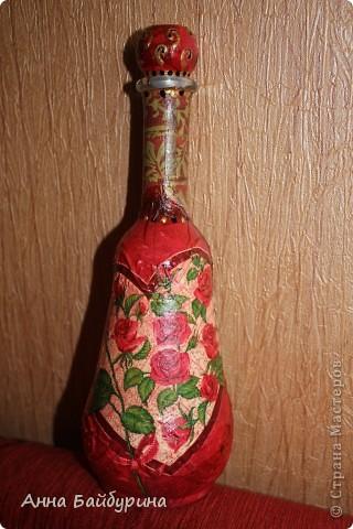 """Бутылочка """"Апельсинчики"""". Использованы: стеклянная бутылка, эмаль-спрей белая, лак акриловый, лак-спрей, салфетка, клей ПВА, краски акриловые, яичное кракле, шпагат, контур по стеклу. фото 3"""