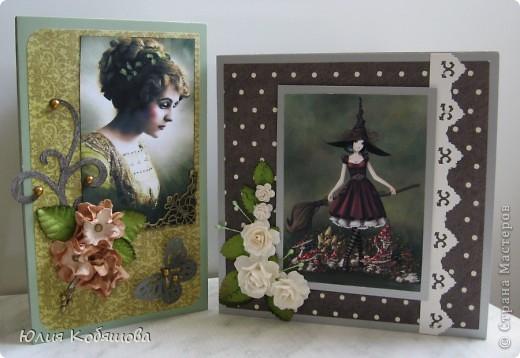 Сегодня показываю вам мои новые открытки в совсем не характерной для меня цветовой гамме. С таким темным фоном у меня еще открыток не было, поэтому хотелось бы узнать ваше мнение, уважаемые мастерицы, может что-то не так, или чего-то не хватает? фото 1