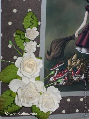 Сегодня показываю вам мои новые открытки в совсем не характерной для меня цветовой гамме. С таким темным фоном у меня еще открыток не было, поэтому хотелось бы узнать ваше мнение, уважаемые мастерицы, может что-то не так, или чего-то не хватает? фото 9