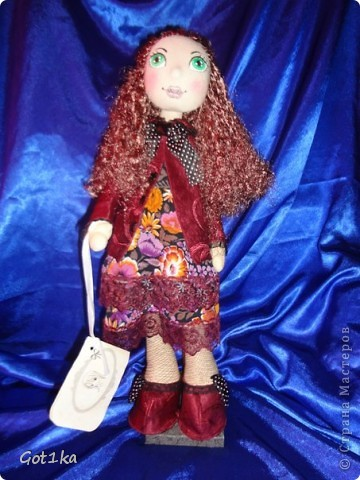 Текстильная кукла Тамара. Ткань лен, шелк, волосы атлас,  краски по ткани. Рост 50 см. фото 1