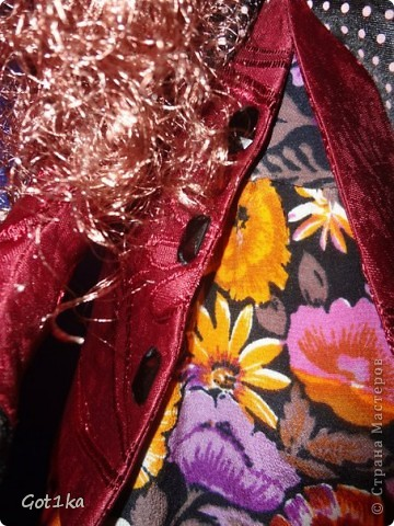 Текстильная кукла Тамара. Ткань лен, шелк, волосы атлас,  краски по ткани. Рост 50 см. фото 6