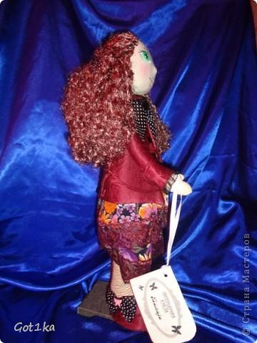 Текстильная кукла Тамара. Ткань лен, шелк, волосы атлас,  краски по ткани. Рост 50 см. фото 4