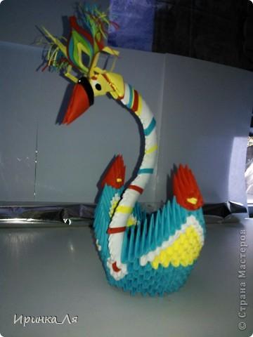 Всем привет! Увлекаться модульным оригами,я начала не так давно...в конце июня нынешнего года)Не судите строго! Это моя первая поделка.Пара лебедей) фото 6