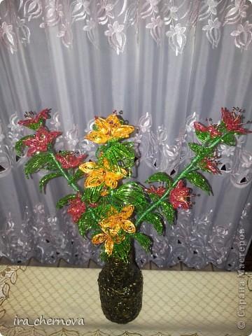 Цветочки в вазе, которую представляла раньше. Доплела еще две веточки, чтобы был настоящий букет. фото 1