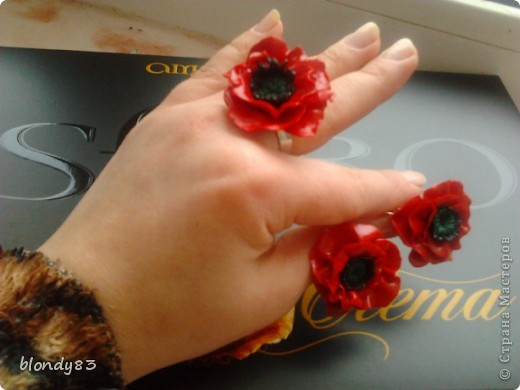 набор кольцо и серьги маки фото 1