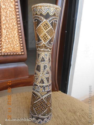 моя первая ваза в точечной росписи,будет парой к африканской тарелке http://stranamasterov.ru/node/388081