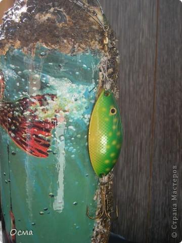 """Здравствуйте! В преддверии Дня рождения моего свекра-заядлого рыбака вспомнила прекрасную работу Марины """"Рыбный день"""", которую увидела в Стране. Решила повторить творческий подвиг, тем более, что никогда не декорировала бутылки. Все бывает в первый раз. фото 10"""