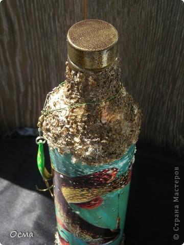 """Здравствуйте! В преддверии Дня рождения моего свекра-заядлого рыбака вспомнила прекрасную работу Марины """"Рыбный день"""", которую увидела в Стране. Решила повторить творческий подвиг, тем более, что никогда не декорировала бутылки. Все бывает в первый раз. фото 1"""