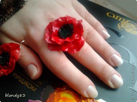 набор кольцо и серьги маки фото 3