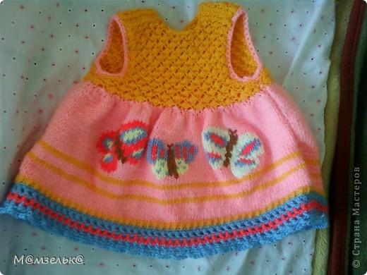 Вязанный сарафанчик для любимой доченьки в садик. фото 5