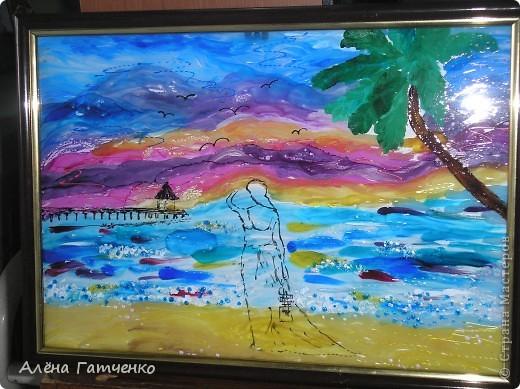 """Картина """"морские грёзы"""". Выполнена витражными красками и немного контуров. фото 1"""