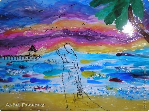 """Картина """"морские грёзы"""". Выполнена витражными красками и немного контуров. фото 2"""