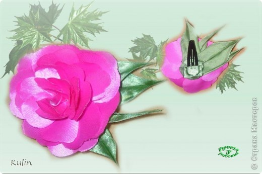 розовые розы (заколка-автомат) фото 7