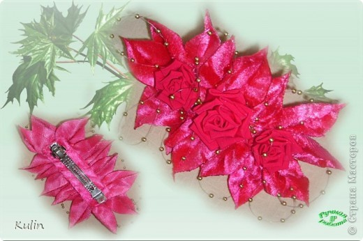 розовые розы (заколка-автомат) фото 1