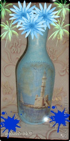Вазочка в морском стиле, декорированная морскими ракушками. фото 8