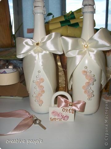 Свадебные бутылки шампанского и замочек с ключиком от нашей счастливой жизни!) фото 1