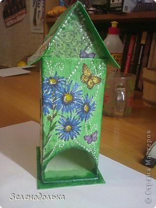 Приветик)))  На подарок сделала вот такой вот домик для чайных пакетиков))) фото 1