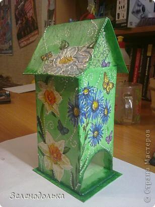 Приветик)))  На подарок сделала вот такой вот домик для чайных пакетиков))) фото 2
