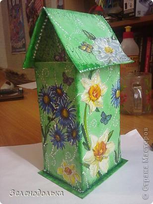 Приветик)))  На подарок сделала вот такой вот домик для чайных пакетиков))) фото 3