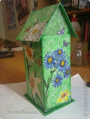 Приветик)))  На подарок сделала вот такой вот домик для чайных пакетиков))) фото 4