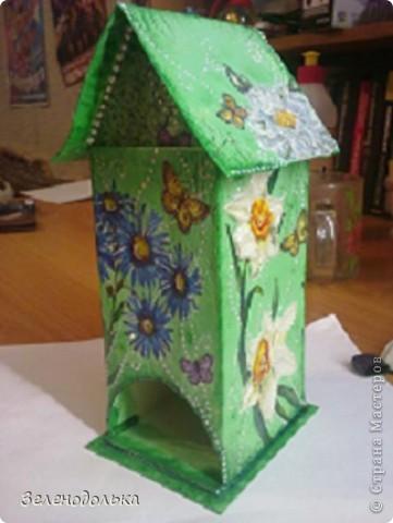 Приветик)))  На подарок сделала вот такой вот домик для чайных пакетиков))) фото 5