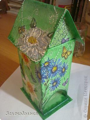 Приветик)))  На подарок сделала вот такой вот домик для чайных пакетиков))) фото 6