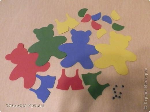 Всем здравствуйте!!!! Хочу показать вот таких медведей, которых изготовили с воспитанницей  за 4 занятия, так как она еще 3-х летка... На этих фигурках закрепляли понятия: теругольник, квадрат, круг и последний мишка был, так сказать, без определенной цели (цветочки ему вручили). Идею увидела случайно в магазине и быстро ее  реализовала, а было дело так.... фото 2