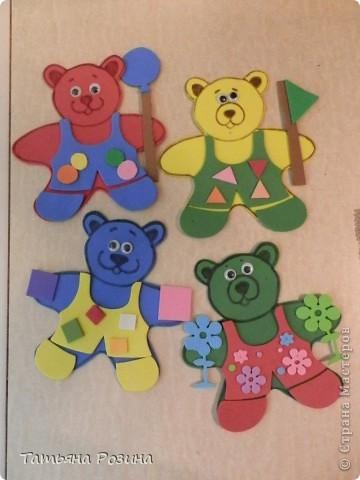 Всем здравствуйте!!!! Хочу показать вот таких медведей, которых изготовили с воспитанницей  за 4 занятия, так как она еще 3-х летка... На этих фигурках закрепляли понятия: теругольник, квадрат, круг и последний мишка был, так сказать, без определенной цели (цветочки ему вручили). Идею увидела случайно в магазине и быстро ее  реализовала, а было дело так.... фото 1