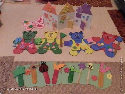 Всем здравствуйте!!!! Хочу показать вот таких медведей, которых изготовили с воспитанницей  за 4 занятия, так как она еще 3-х летка... На этих фигурках закрепляли понятия: теругольник, квадрат, круг и последний мишка был, так сказать, без определенной цели (цветочки ему вручили). Идею увидела случайно в магазине и быстро ее  реализовала, а было дело так.... фото 7