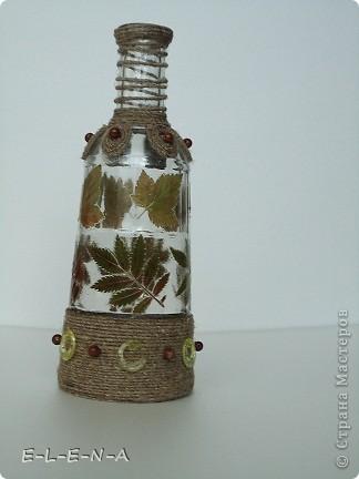Бутылочка-графин. Первая моя работа со шпагатом. Использованы листочки смородины и рябины. фото 2