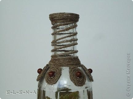 Бутылочка-графин. Первая моя работа со шпагатом. Использованы листочки смородины и рябины. фото 3